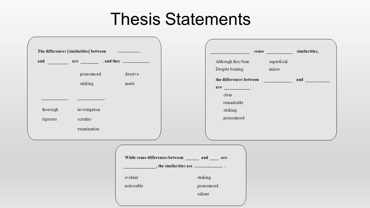 Thesis Statements The differences [similarities] between __________